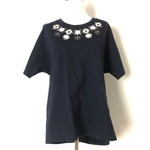 J. Crew Boxy Top with beads details